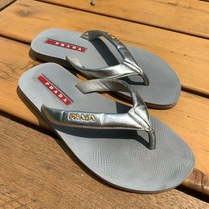 Prada sport silver leather Flip flop sandals 37